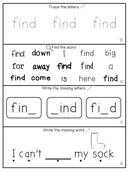Teach Me Sight Words: FIND [Interactive Center with Printables and Audio]