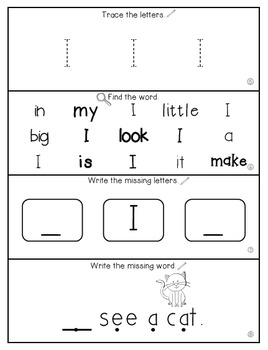 Teach Me Sight Words: I [Interactive Center with Printables and Audio]
