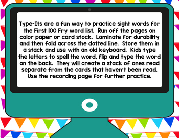 Sight Word Type It, Read It, Write It! Literacy Station FIRST 100 FRY Words