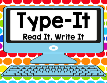 Sight Word Type It, Read It, Write It! Literacy Station Dolch PRE-PRIMER