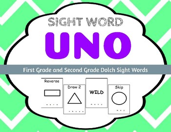 Sight Word Uno - Dolch First Grade (1G) and Second Grade (2G) Sight Words