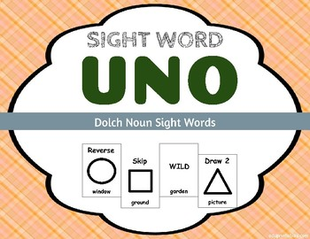 Sight Word Uno - Dolch Noun Sight Words