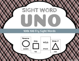 Sight Word Uno - Fry 10th (Tenth) 100 Sight Words