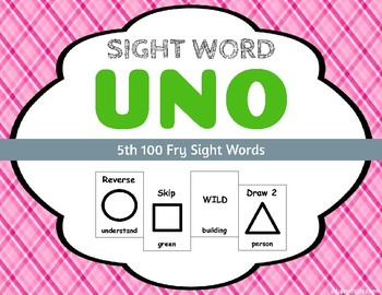 Sight Word Uno - Fry 5th (Fifth) 100 Sight Words