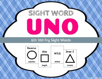 Sight Word Uno - Fry 6th (Sixth) 100 Sight Words