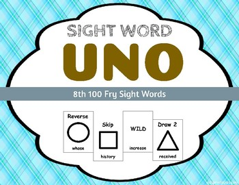 Sight Word Uno - Fry 8th (Eighth) 100 Sight Words