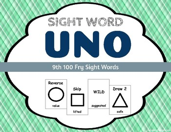 Sight Word Uno - Fry 9th (Ninth) 100 Sight Words