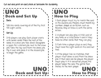 Sight Word Uno - Fry 1st (First) 100 Sight Words
