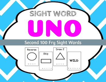 Sight Word Uno - Fry Second 100 Sight Words