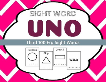 Sight Word Uno - Fry 3rd (Third) 100 Sight Words