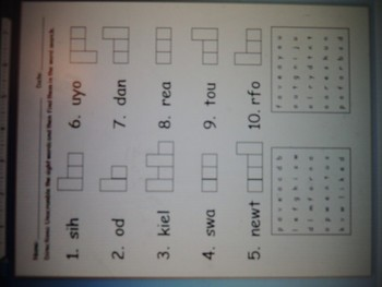 Sight Word Unscramble and Word Search