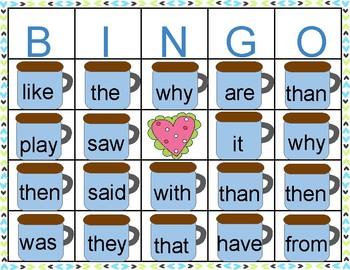 Sight Word Valentine's Day Marshmallow Bingo