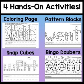 Sight Word WENT {2 Sight Word Books and 4 Worksheets!}