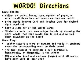 Sight Word WORDO (Bingo Game)