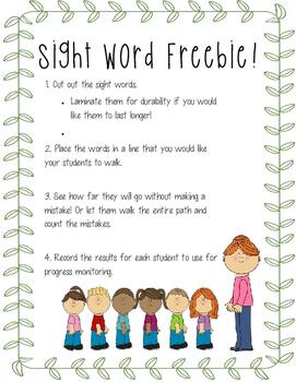 Sight Word Walk - Freebie!!