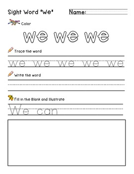 Sight word we practice worksheet by growing in kindergarden tpt sight word we practice worksheet ibookread Read Online