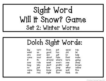 Sight Word Will it Snow? Game