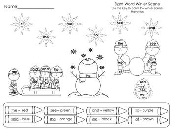 Sight Word Winter Worksheets