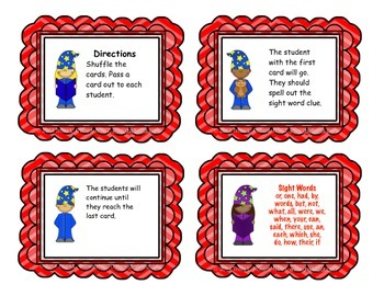 "Sight Word Game: ""I Have, Who Has"" (Fry List 2)"