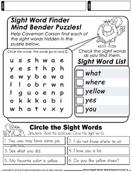 Dolch Sight Word: Word Search. Level-A Book 1