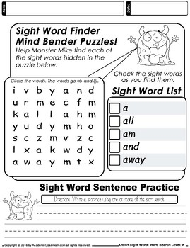Dolch Sight Word: Word Search Integrated Worksheets Sight Words Level-A