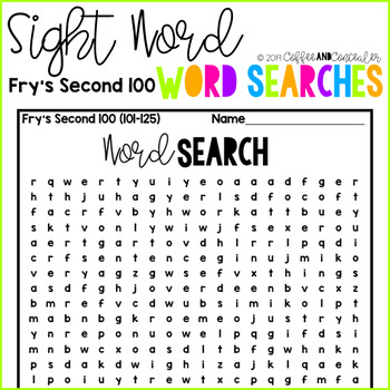 Sight Word Word Search Pack - Second 100 Fry Words
