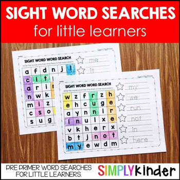 Sight Word Word Searches - Pre Primer Words
