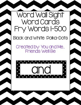 Word Wall Sight Word Cards 1-500