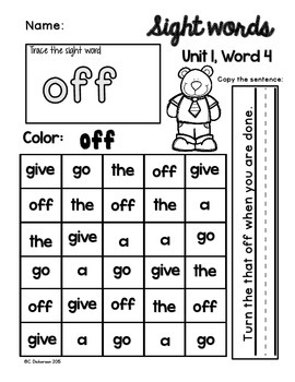 Sight Word Word Work