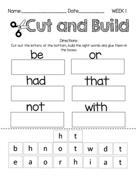 Sight Word-Word Work-Freebie Sample (week1)