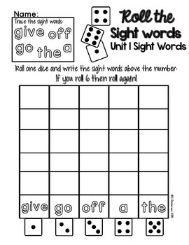 Sight Word Word Work Sample