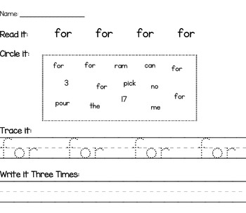 Sight Word Work 78 PAGES - Read it, Trace it, Circle it, Write it!