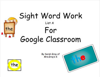 Sight Word Work- Fountas and Pinnell- List A
