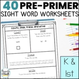 No Prep Sight Word Work Mats {Dolch Pre-Primer Pack}