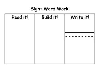 Sight Word Work Mats