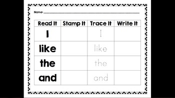 Sight Word Work (Read It, Stamp It, Trace It, Write It)