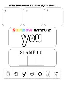 Sight Word Work: Sort it, Rainbow Write it, Stamp it~YOU