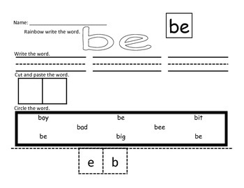 Sight Word Work and Monthly Assessment