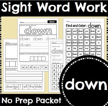 Sight Word Work: down