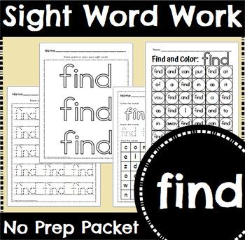 Sight Word Work: find