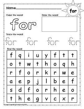 Sight Word Work: for
