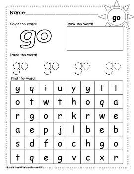 Sight Word Work: go