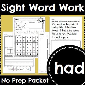 Sight Word Work: had