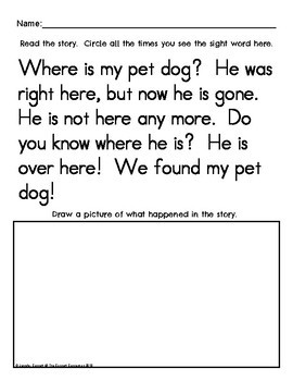 Sight Word Work: here