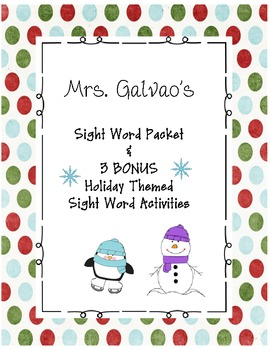 Sight Word Work with Bonus Holiday Activities!