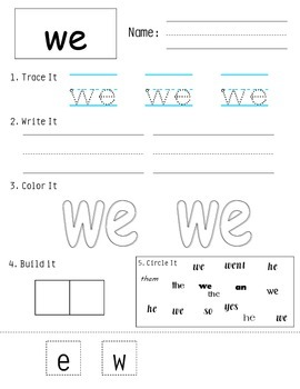 Sight Word Worksheets