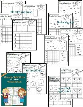 Sight Word Worksheet Activities- Pre-Primer 1