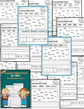Sight Word Worksheet Activities- Pre-Primer BUNDLE