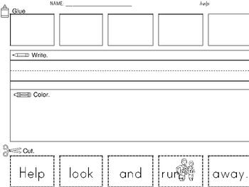 Sight Word Worksheet: Cut & Paste SET 5