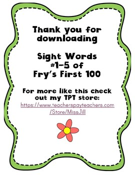 Sight Word Worksheet Pack: First 5 Words
